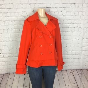New York & Company Orange Trench Coat Large